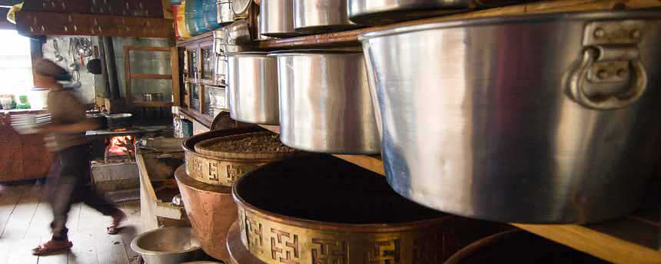 A Sherpa kitchen in the Khumbu, Nepal taken while on a photography tour by Jock Montgomery.
