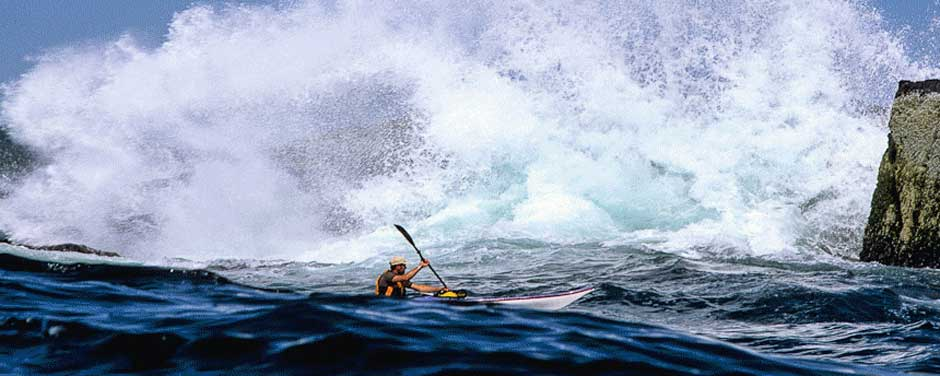 Photograph of kayaking taken by Jock Montgomery during a world expedition to the coast of Maine.