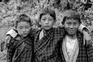 Three Bhutanese school boys