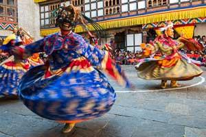 Bhutan, Buddhist Cham dancing