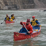 Canoeing on the Mountain River in the Northwest Territories, Canada