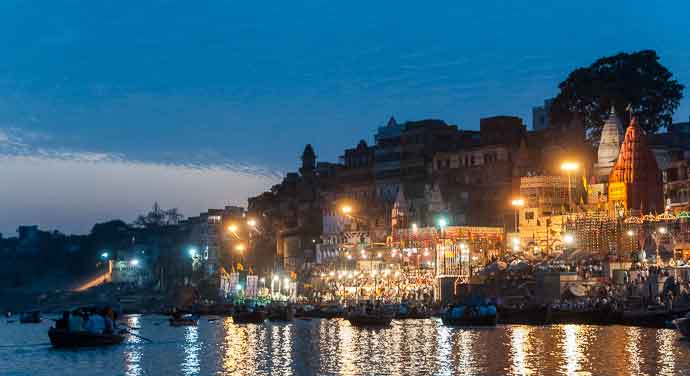 Aarti ceremony beside the Ganges River, Varanasi