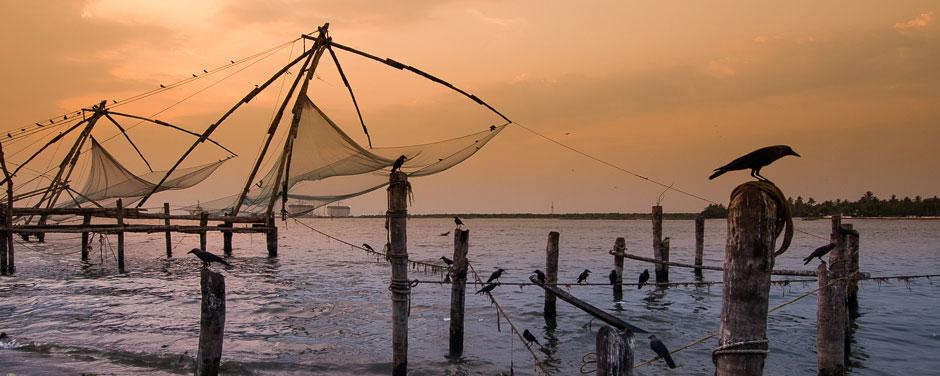Cochin (Kochi) waterfront, Chinese style fishing nets at sunset