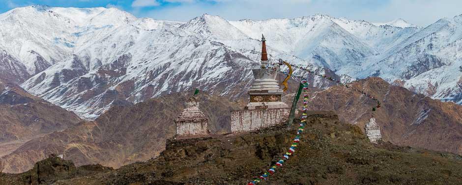 Tibetan Buddhist Stupas in the Ladakh Himalaya valley, India