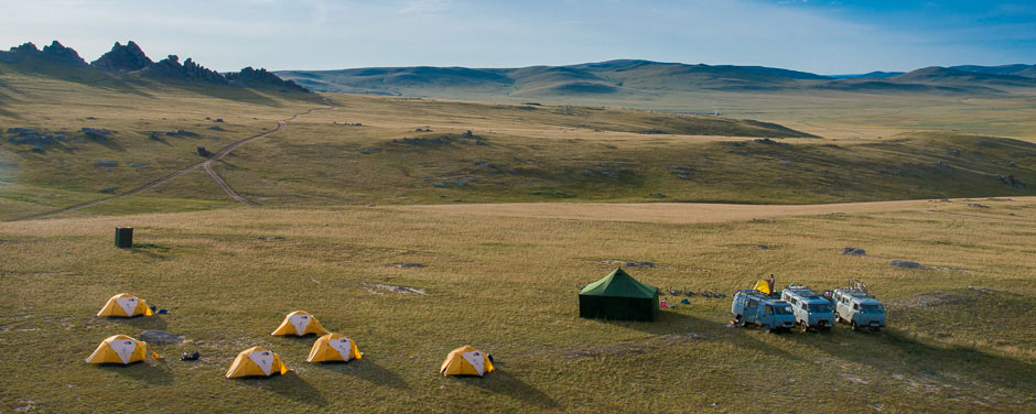 Campsite in the steppe grasslands while on a mountain biking tour in Mongolia