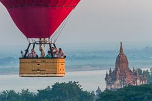 A balloon gliding over Bagan, Myanmar