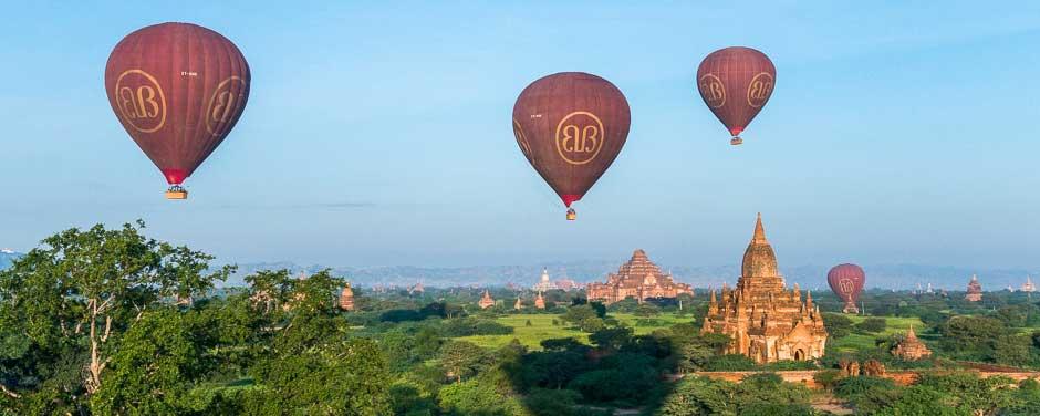 Hot air balloons over temples in Bagan, Myanmar