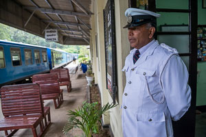 Train station master, for the mountain train line in Sri Lanka