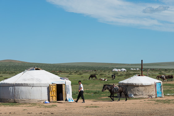 A mongolian man is walking with his horse. There are two Mongolian ger (also known as a yurt)