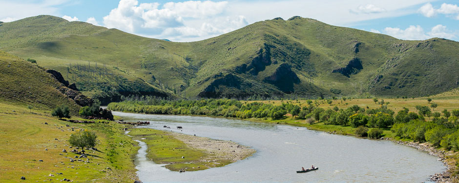 Canoeing in the Orkhon River valley in Mongolia