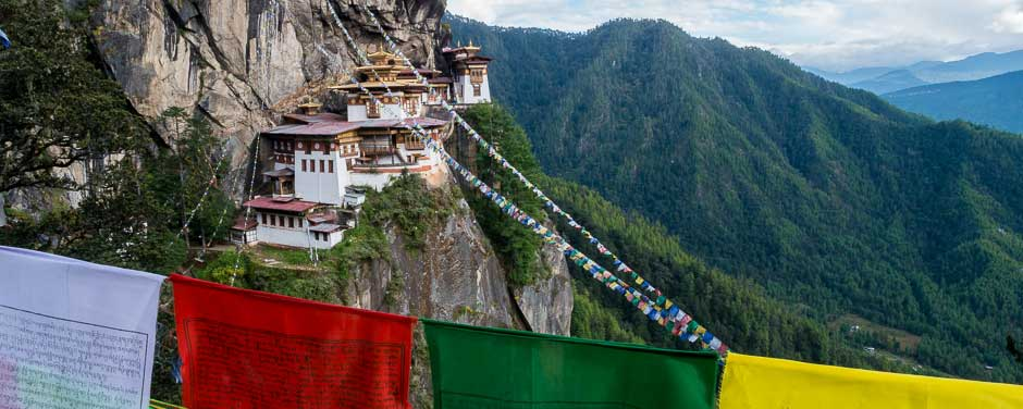 Bhutan, Taktsang Monastery perched on a cliff face, also known as the Tiger's Nest, with Buddhist