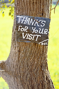 Chitwan National Park, Nepal sign: 'Thanks for your visit'.