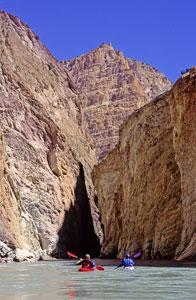 Paddling between the sheer cliffs of the Zanskar River